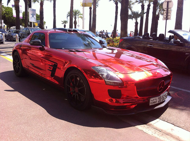 Mercedes SLS Rouge chrome!
